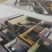 (仮称)シンプルに暮らすコンパクト回廊のある家・リノベーションプラン・・・・・暮らしの器としての立体的、平面的バランスと密度の持つ意味LDKの吹き抜け空間とストリップ階段、中庭の連動。。