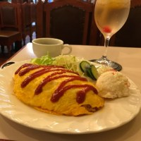 Dinner 'Rice Omelet' at old coffee house in Hiyoshi
