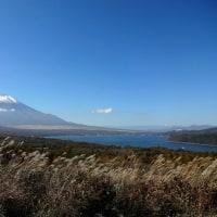 三国峠から見た富士、山中湖