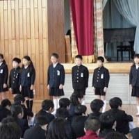 1/23(月)全校朝会で4年生が発表しました。