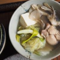 農家の一汁一菜 蒸し大根のオリーブオイルソース 白菜と鶏の水炊き風スープ