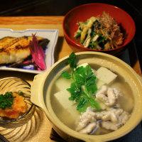 しらこ豆腐の小鍋だて・銀だら西京漬け・・・ゆうげ