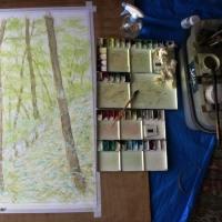 絵「緑の中を」(描き替え工程)