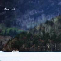 ジオラマの秋の然別湖と台風の爪痕