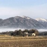 朝靄の加波山