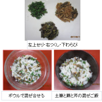 春の山菜ご飯・・蕨と土筆と芹