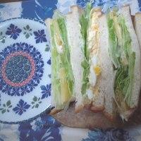 レタスとチーズ、卵サンド弁当