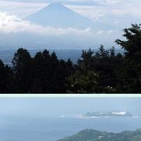 EKワゴンの旅、右手が富士山で左手は網代と初島。