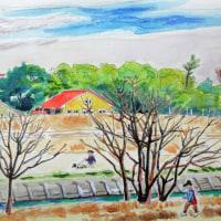 矢田川ー赤い屋根の家