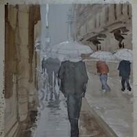「 雨の街角 」