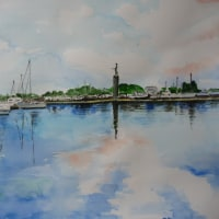 とよこの絵、海が好き、海が好き港の風景この岸壁に座って大好きな海を描いてみたい~い