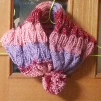 手編みの帽子にもなるマフラー2