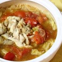 カツサンド&トマト鍋