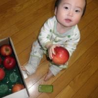 りんごをかじると長い男