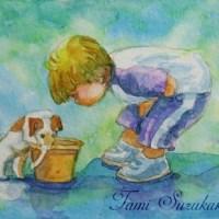 絵画販売・水彩・原画「子供シリーズ・ミニカード3枚セット」