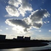 蝶のような雲が出た…多摩川冬景色シリーズ