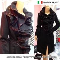 【イタリア製 RINASCIMENTO Coat/リナシメント】たっぷりフレアえり&ウール混 切り替えAライン コート/ブラック