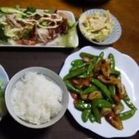 レタスの肉巻き、ポテトサラダ、スナックエンドウ炒め