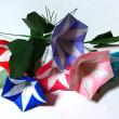7月の折り紙-ひまわり 朝顔 金魚 シェルBOX コマ-