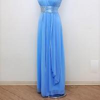 ロングドレス206 爽やかな色合いのストレッチロングドレス Vネックでスッキリ着られるパーティードレス パーティドレス