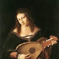リュートを弾く女