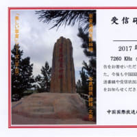 中国国際放送局 ベリカード  寧夏島根友好林記念碑