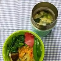 かき揚げと野菜おかずの載っけ弁当