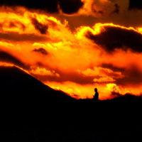遠望の富士山の夕暮れシリ-ズ