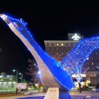 米子駅前のコハクのライトアップ