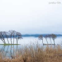 湖北、春霞の風景