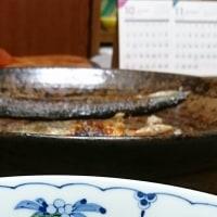 陶板で焼いた魚と冬のほうれん草~佐渡島の酒粕焼酎