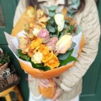 オレンジ色のお花束