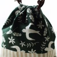 デコレクションズさんのツバメ柄で巾着を作りました