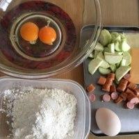 ナスと茹で卵のケーキ