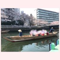 和舟でお花見