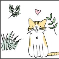 草が好きな猫