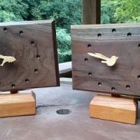 木製(ウォールナット材)掛け・置き時計を作りました。