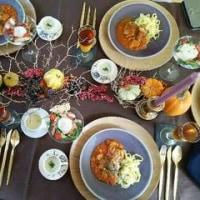 Halloweenのテーブルコーディネートはオレンジ色と紫色でした*お料理教室