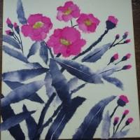 ちぎり絵教室でちょうちくとうの花を作成!