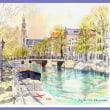 アンネ・フランク、西教会の運河風景 オランダ