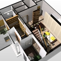 (仮称)シンプルに暮らすコンパクト回廊のある家・リノベーションデザインからの感性を創出する空間のデザイン途中・・・・吹き抜け・中庭・LDKと空間の一体化がもたらす効能設計。