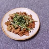つまみ 鶏肉と水菜の醤油炒め