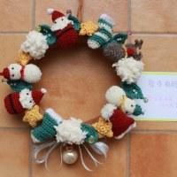 毛糸で作るクリスマスリース