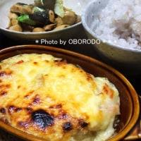 蛇腹ジャガチーズと茄子鶏甘酢