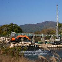 田土部の堰、水門改修工事を見てきた。