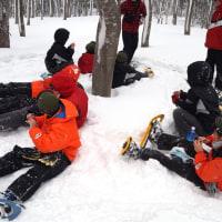 スノーシュートレッキングは下小岩小学校6年生の皆さんと