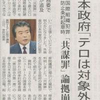 #akahata 日本政府「テロは対象外に」 国際組織犯罪防止条約起草時/「共謀罪」論拠崩れる 共産党:仁比議員が追及・・・今日の赤旗記事