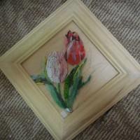 店舗の床のご夫婦教室とお花の3作目のチュ―リップ