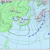 2月21日 アメダスと天気図。
