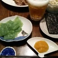 一杯のビールで晩酌からの~カルビ茄子(笑)
